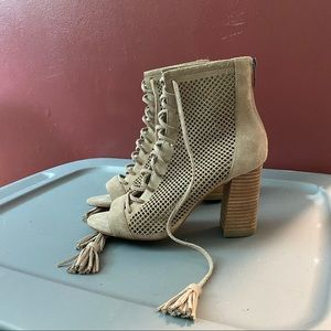 Marc Fisher Shaini Perforated Suede Lace Up Boots
